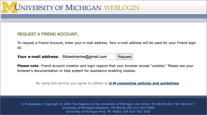 Screenshot of Request a Friend Account page.