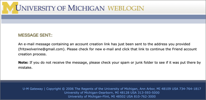 Screenshot of Message Sent screen. It asks you to check your email for the message.
