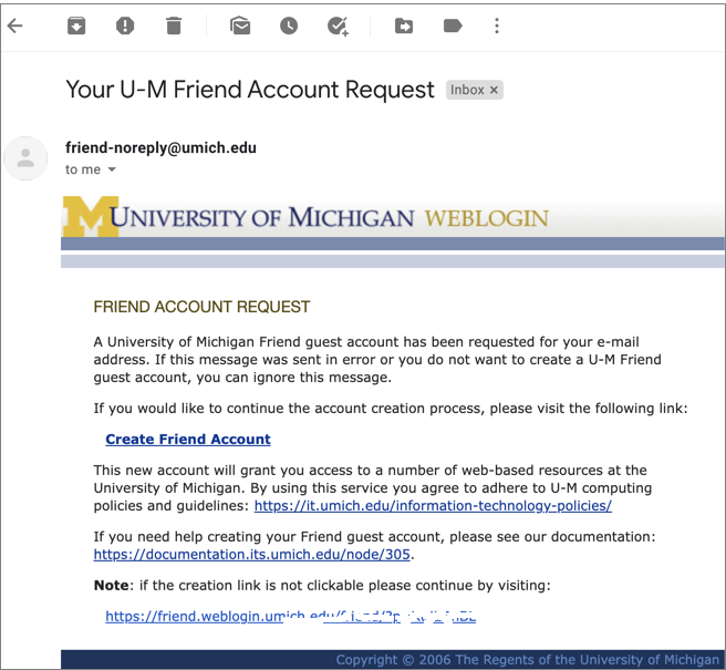 Screenshot of the email with the link to create a Friend account.