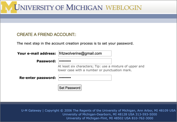 Screenshot of Create a Friend Account page where you set your password.