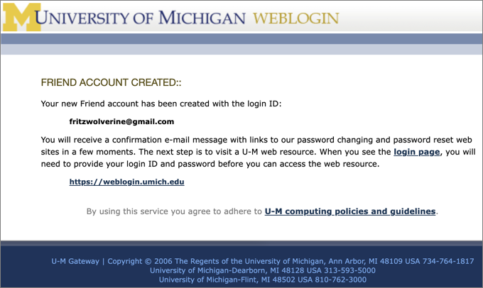 Screenshot of webpage confirming creation of Friend account.