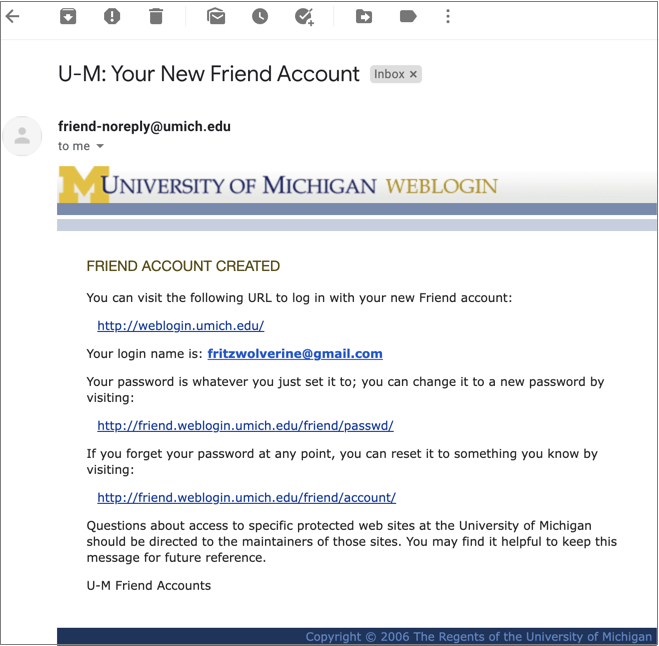 Screenshot of email confirming creation of Friend account.