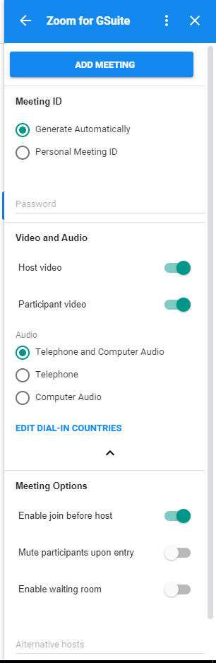 Screenshot of meeting preferences from Google Calendar sidebar for Zoom add-on