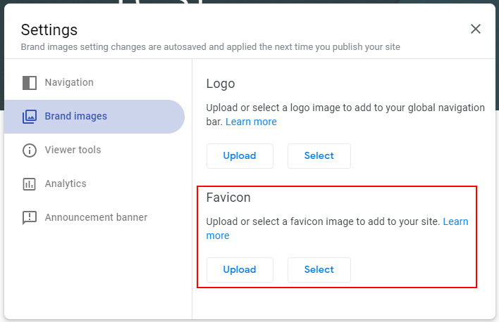 Screenshot of the Settings menu to add a favicon to your New Google Site