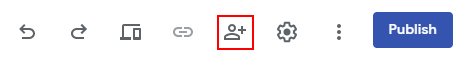 Screenshot of the new Google Sites toolbar, with red box around the sharing icon.