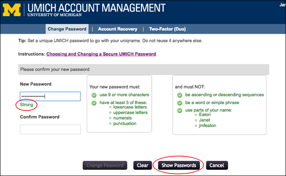 Screenshot of Change Password page.