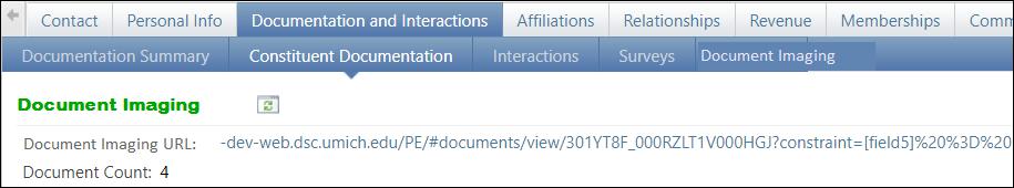 Document Imaging URL screen