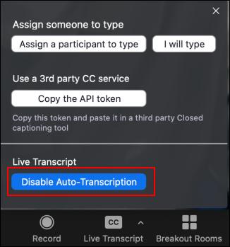 A picture showing Disbale Auto Transcription