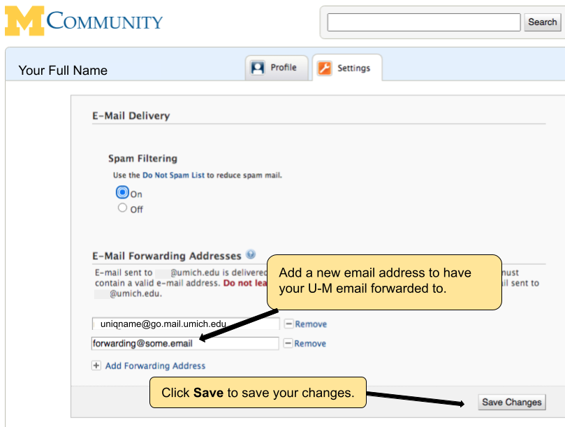 Screenshot of adding an address and saving the changes.