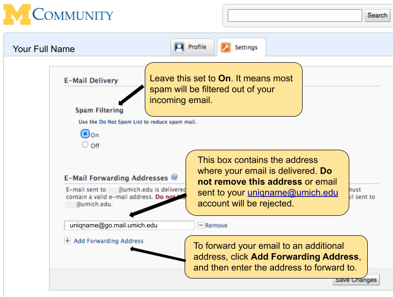 Screenshot of Settings. Leave Spam Filtering on so that most spam is filtered from your incoming e-mail. If you use a U-M e-mailservice, leave the mail forwarding address alone. It was set for you when your mailbox was created, and if you delete it, mail sent to you at youruniqname@umich.edu will be rejected. You can add mail forwarding addresses if you wish, for example, to have your U-M e-mail forwarded to another account.