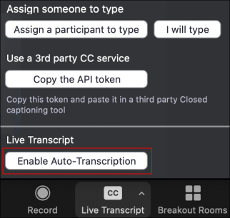A picture of text showing Enable Auto-Transcription
