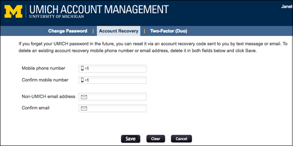 Screenshot of Account Recovery tab. Enter and confirm your account recovery information.