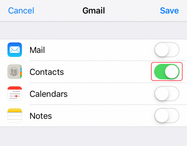 turn on contacts only for gmail