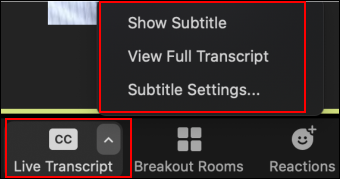 A picture showing the Live Transcript key