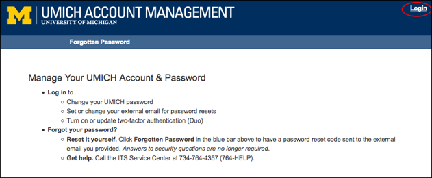 Screen shot showing the UMICH Account Management home page with login link in upper right