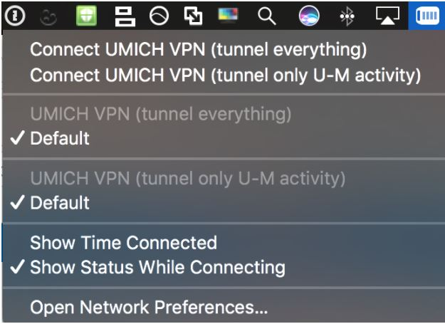 Mac VPN Menu Bar