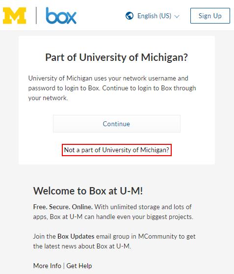 umich.box.com login page