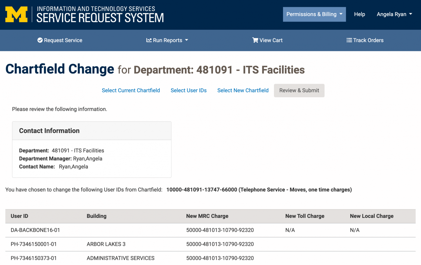Screenshot of Review and Submit page of Chartfield Change Request
