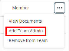 screenshot with add team admin highlighted