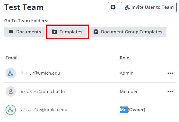 screenshot showing the Templates team folder