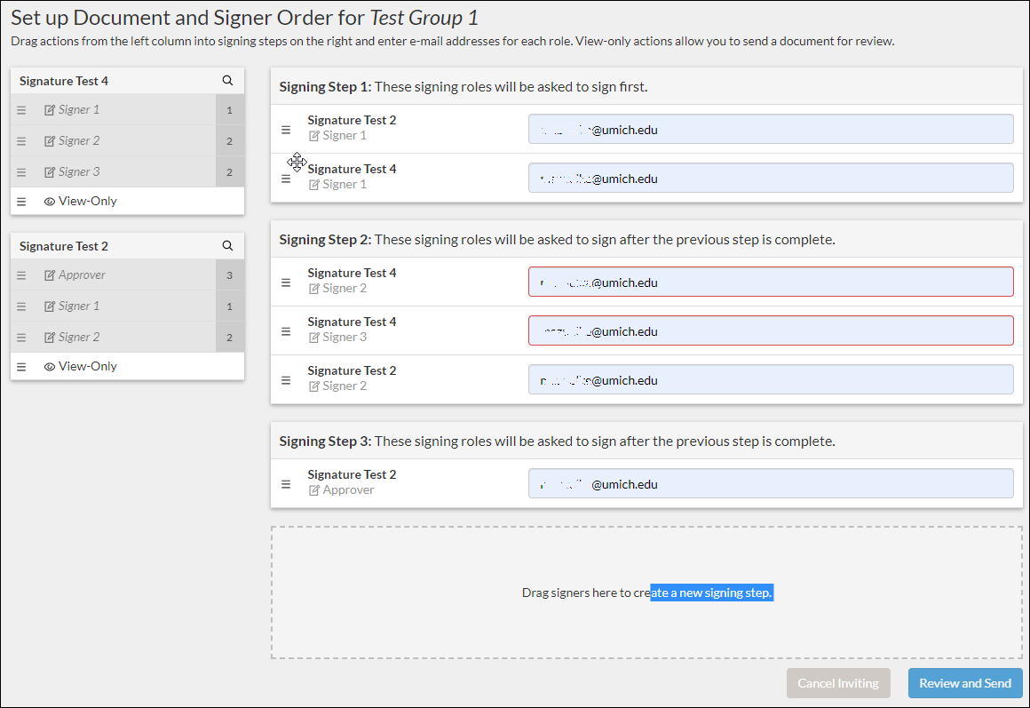 set up document and signer order with email addresses