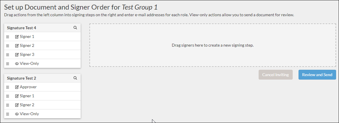set up document and signer order window