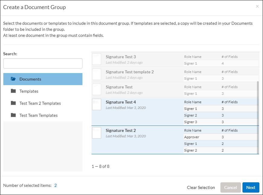 create a document group windwo
