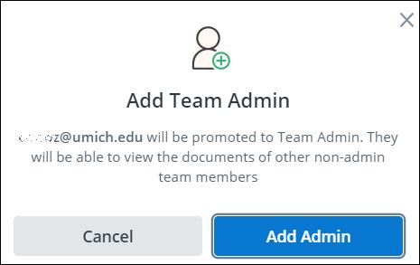 screenshot of add team admin box