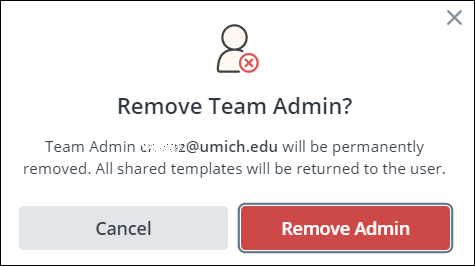 screenshot of remove team admin box
