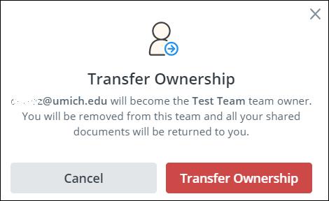 screenshot of transfer ownership box
