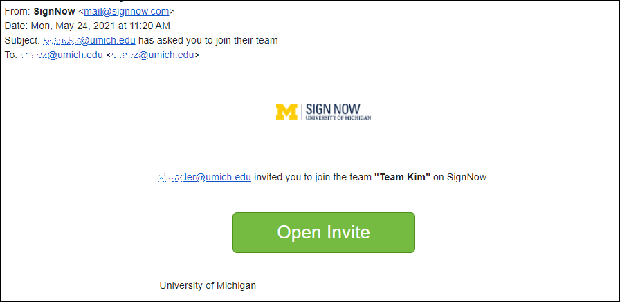 sign now email invitation screen shot