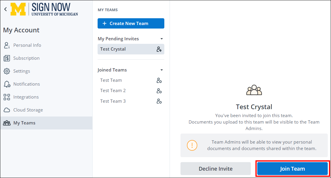 join teams selection screen shot