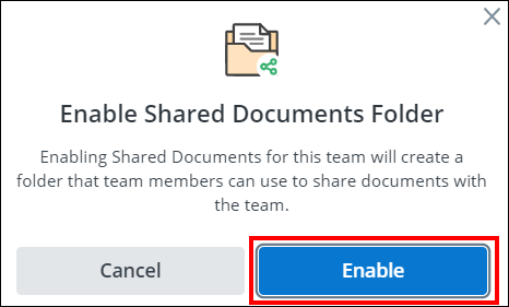 screenshot of the enable shared documents popup