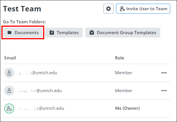 screenshot showing Team folders with documents button highlighted