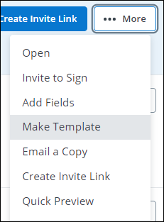 SCREENSHOT showing where to find the Make Template option