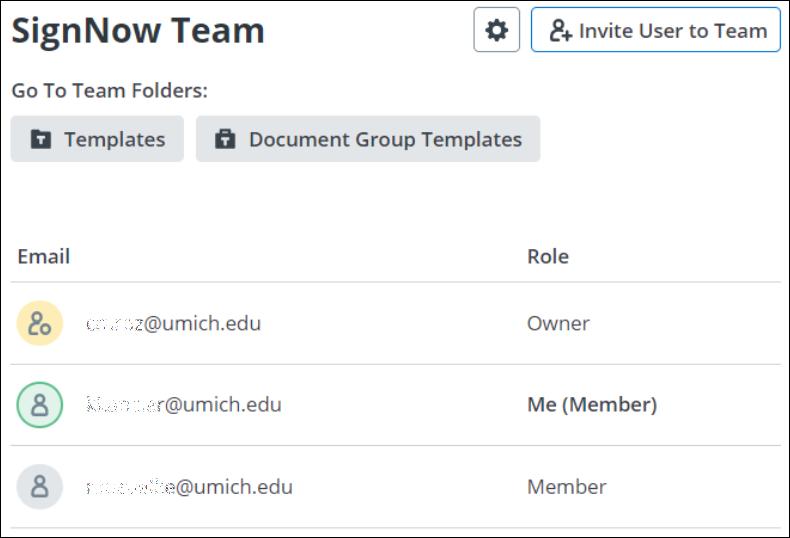screenshot showing list of team members