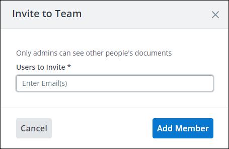 invite to team window screenshot