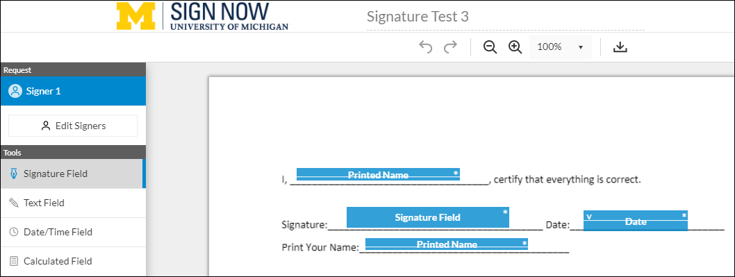 sample document with fields added