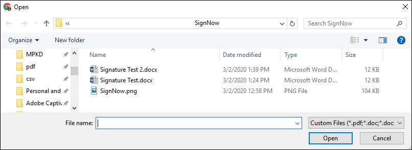 open file window