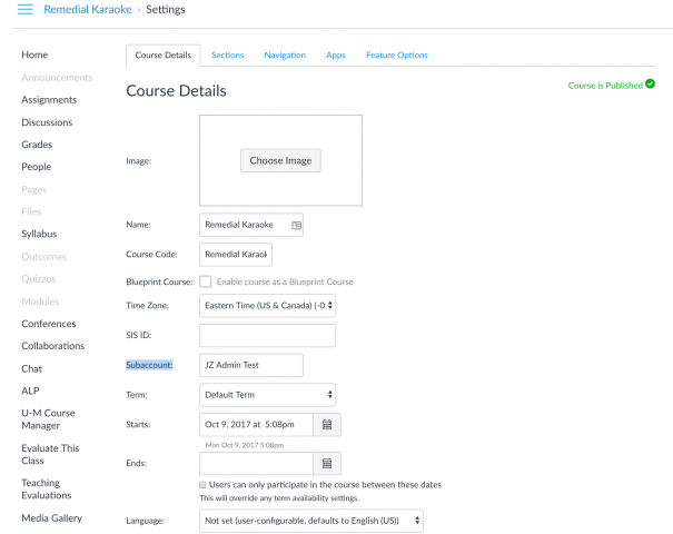 Image of the Course Details page.  The Subaccount text box is highlighted.