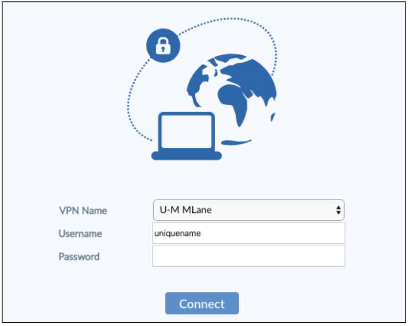 VPN client installer login; text fields for VPN Name, Username, and Password; blue button that says Connect.