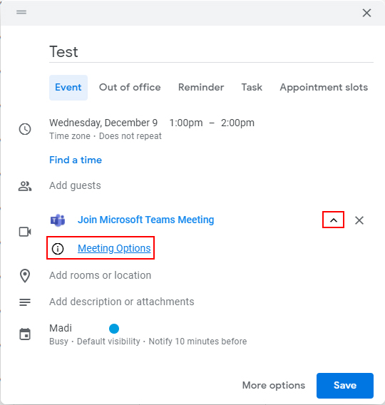 Screenshot of Google Calendar event creation dialog box. Red box around the carrot drop-down icon and another red box around Meeting Options.