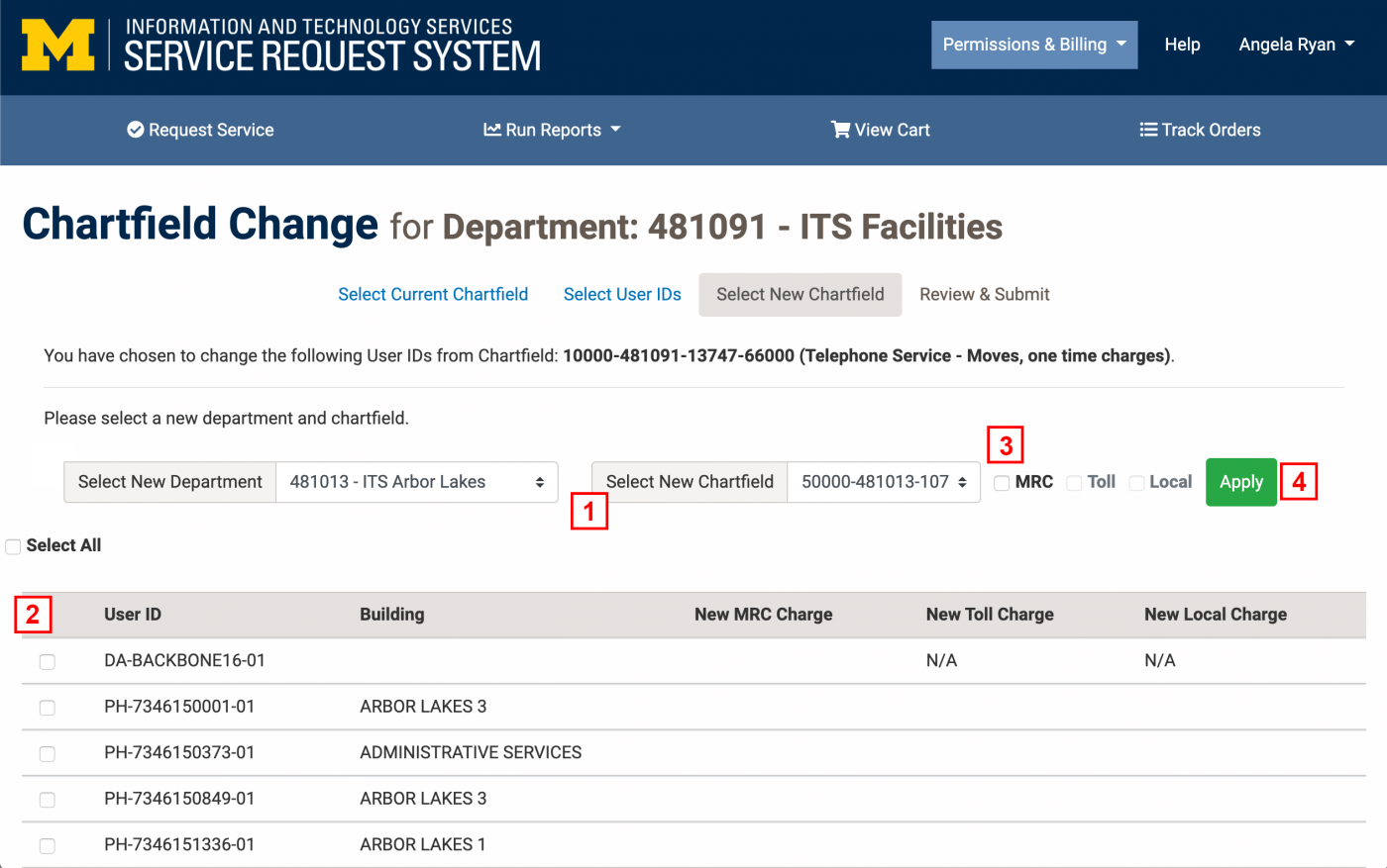 Screenshot with red numbers next to steps on Select New Chartfield page of Chartfield Change Request