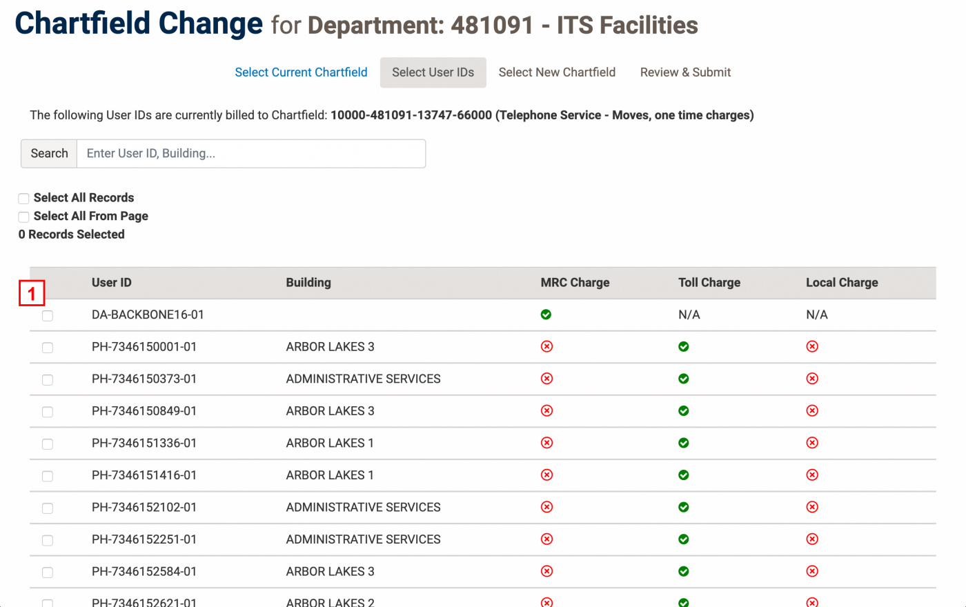 Screenshot with red numbers next to steps on Select User IDs page of Chartfield Change Request