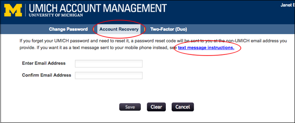 Screenshot of Account Recovery tab. Enter and confirm the non-UMICH email address you want to use for account recovery.