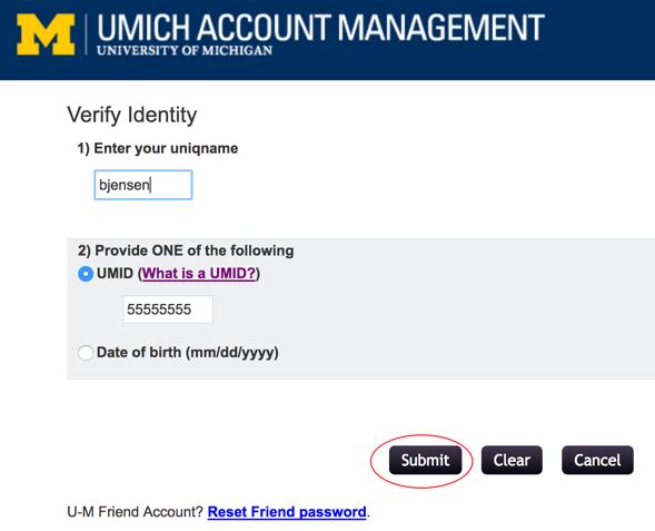 Screenshot of Verify Identity page.