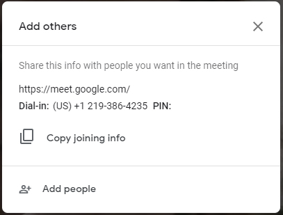Screenshot of the Add others pop-up when entering a Google Meet session