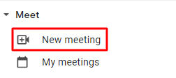 Screenshot of the Meet section in the sidebar of your Gmail account, with red box around New meeting