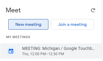 Title: Meet, buttons: New meeting, Join a meeting, text: MY MEETINGS, and a list of your meetings.