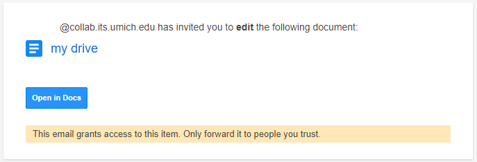 Screenshot of the email external collaborators receive when invited to collaborate on a file in Google Drive.